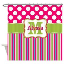 Pink Lime Green Dots Personalized Shower Curtain