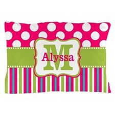 Pink Lime Green Dots Personalized Pillow Case