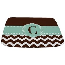 Brown Mint Chevron Monogram Bathmat