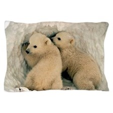 Polar Bear Cubs in the Snow Pillow Case