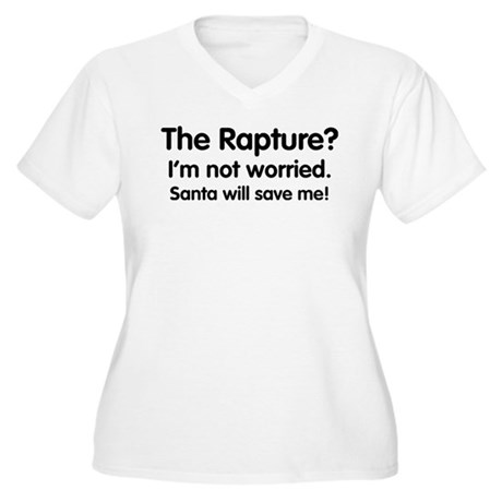 The Rapture vs. Santa Womens Plus Size V-Neck T-S