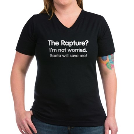 The Rapture vs. Santa Womens V-Neck Dark T-Shirt