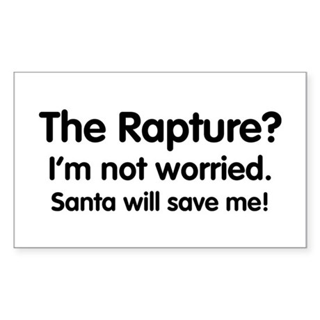 The Rapture vs. Santa Rectangle Sticker
