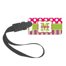 Pink Green Dots Stripe Luggage Tag