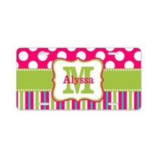 Pink Green Dots Stripe Personalized Aluminum Licen