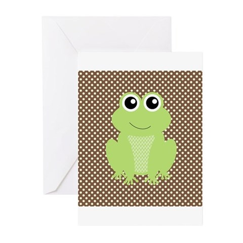 Green Frog on Brown Polka Dots Greeting Cards