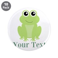 """Personalizable Green Frog 3.5"""" Button (10 pack)"""