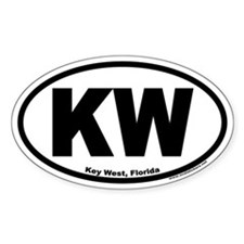 "Key West, Florida Euro Oval ""KW"" Decal"