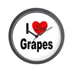 I Love Grapes Wall Clock