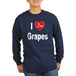 I Love Grapes (Front) Long Sleeve Dark T-Shirt