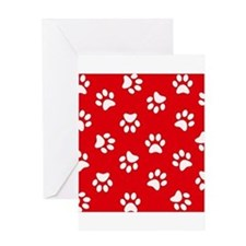 Red Paw print pattern Greeting Cards