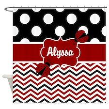 Black Red Ladybug Personalized Shower Curtain
