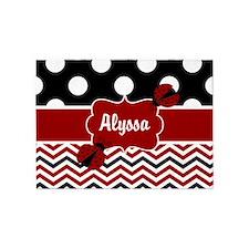 Red Black Chevron Ladybug Personalized 5'x7'Area R