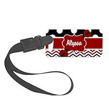 Red Black Chevron Ladybug Luggage Tag