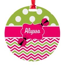 Pink Green Chevron Ladybug Personalized Ornament