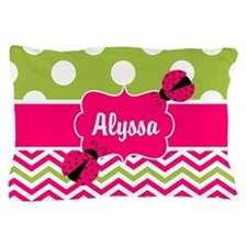 Pink Green Chevron Ladybug Personalized Pillow Cas
