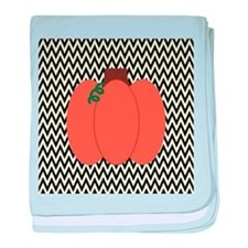 Autumn Pumpkin on Black and White baby blanket