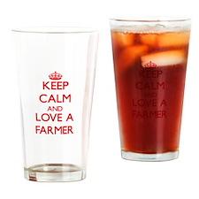 Keep Calm and Love a Farmer Drinking Glass