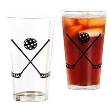 Crossed floorball sticks Drinking Glass