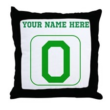 Custom Green Block Letter O Throw Pillow