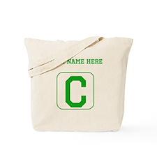 Custom Green Block Letter C Tote Bag