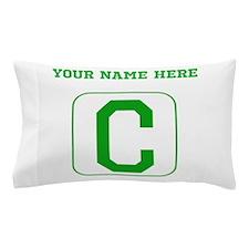 Custom Green Block Letter C Pillow Case