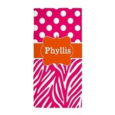 Hot Pink Orange Zebra Dots Personalized Beach Towe