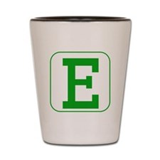 Green Block Letter E Shot Glass