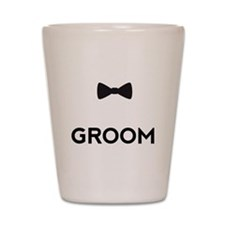 Groom with bow tie Shot Glass