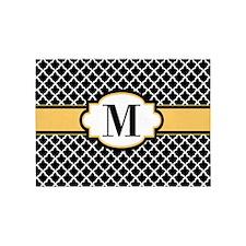 Black Yellow Quatrefoil Monogram 5'x7'Area Rug