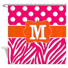 Pink Orange Zebra Dots Monogram Shower Curtain