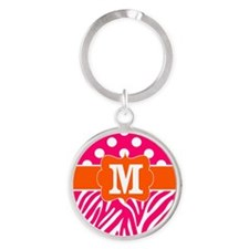 Pink Orange Zebra Dots Monogram Keychains