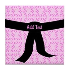 Martial Arts Kick Chick pink Tile Coaster