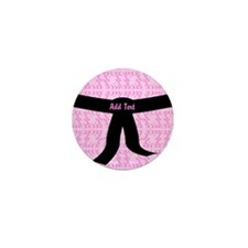 Martial Arts Kick Chick pink Mini Button