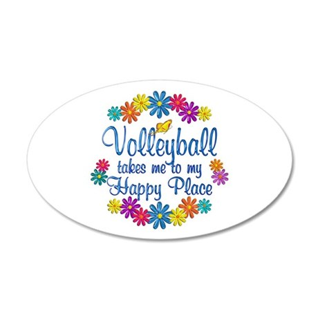 Volleyball Happy Place 20x12 Oval Wall Decal