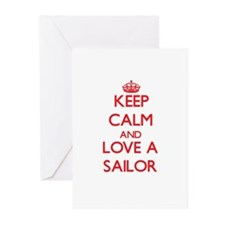 Keep Calm and Love a Sailor Greeting Cards