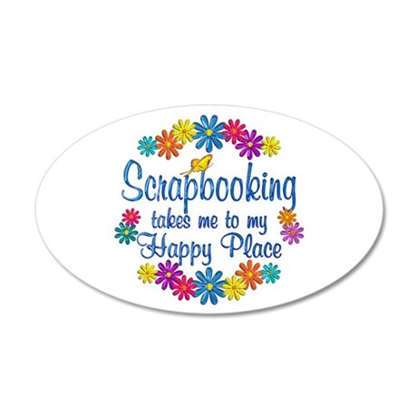 Scrapbooking Happy Place 35x21 Oval Wall Decal