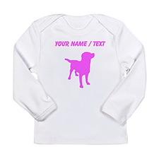 Custom Pink Labrador Retriever Silhouette Long Sle