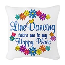 Line Dancing Happy Place Woven Throw Pillow