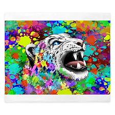 Leopard Psychedelic Paint Splats King Duvet