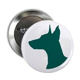 "Doberman Head Silhouette 2.25"" Button (10 pack)"