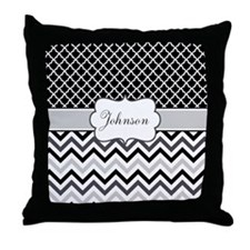 Gray Black Chevron Personalized Throw Pillow