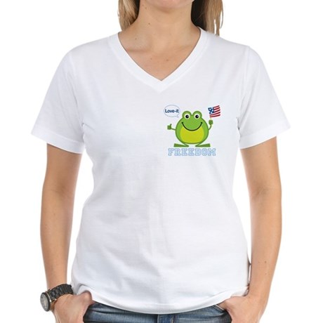 Freedom Frog: Women's V-Neck T-Shirt