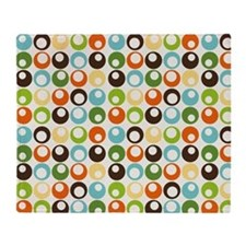 Retro Mod Abstract Circles Throw Blanket