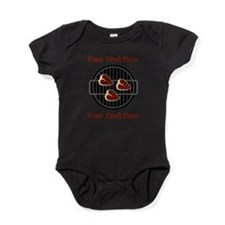 CUSTOM TEXT Meat On BBQ Grill Baby Bodysuit