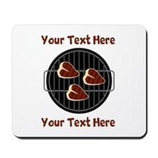 CUSTOM TEXT Meat On BBQ Grill Mousepad
