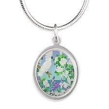 Cockatoo Iris Silver Oval Necklace