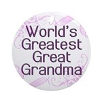 World's Greatest Great Grandma Ornament (Round)