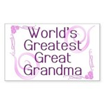 World's Greatest Great Grandma Sticker (Rectangle)