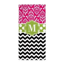 Pink Green Chevron Dots Personalized Beach Towel